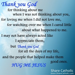Thank you God for thinking about me and loving me.