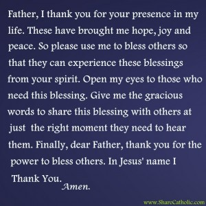 Father, I thank you for your presence in my life.