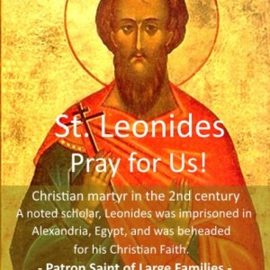 St. Leonides of Alexandria (Feast Day – April 22nd)