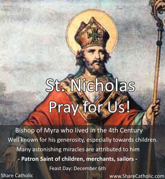 St. Nicholas (Feast Day – December 6th)