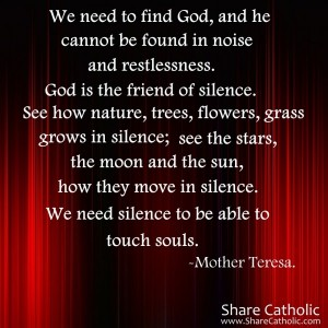 We need to find God, and he cannot be found in noise and restlessness. God is the friend of silence.
