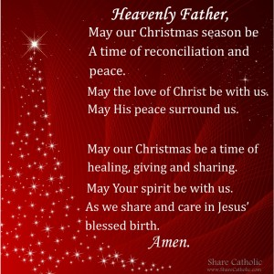 May our Christmas season be A time of reconciliation and peace.