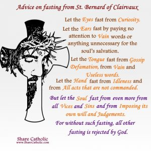 Advice on fasting from St. Bernard of Clairvaux