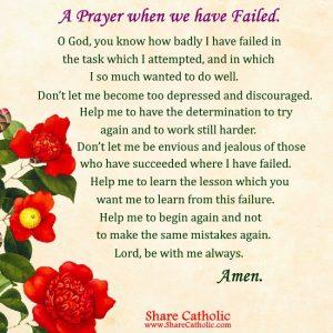 A Prayer when we have Failed