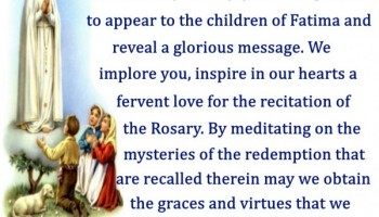 Prayer to Our Lady of Fatima ( Feast Day- May 13th)